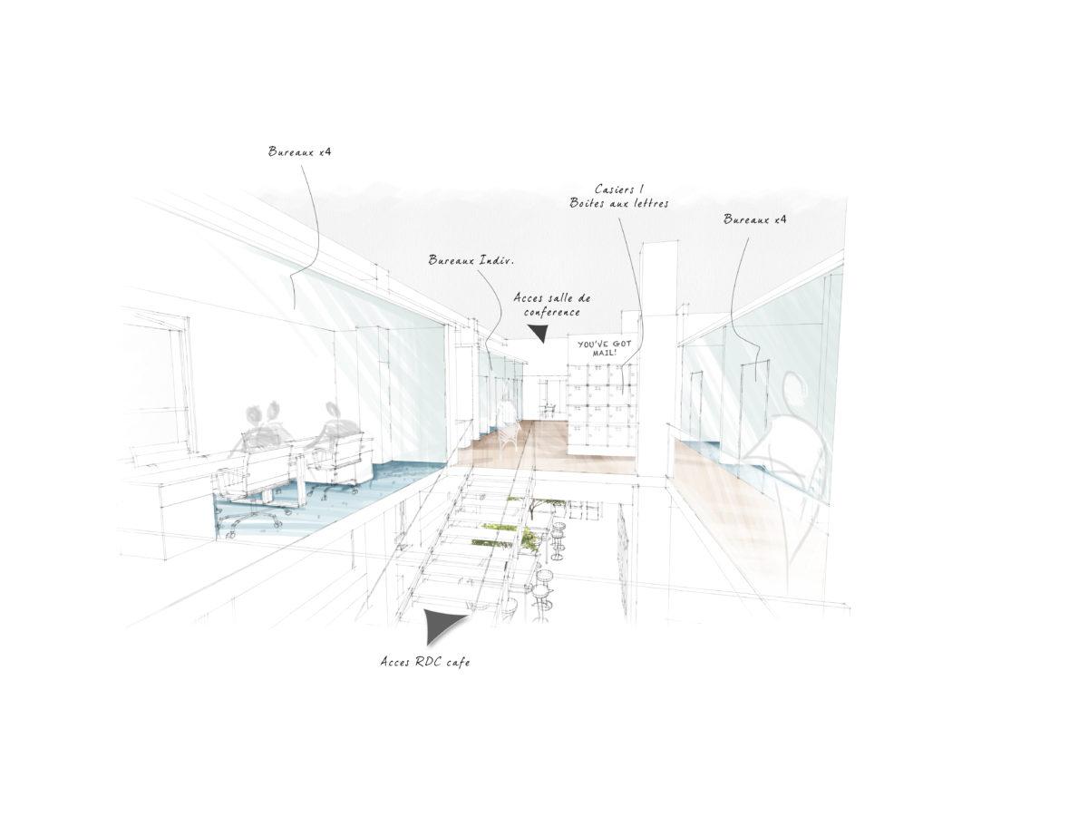 schéma architecte espace de coworking